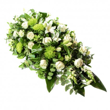 Funeral Spray in White, Ivory, and Green