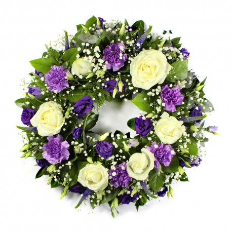 Funeral Wreath in Purple, Ivory, and Green
