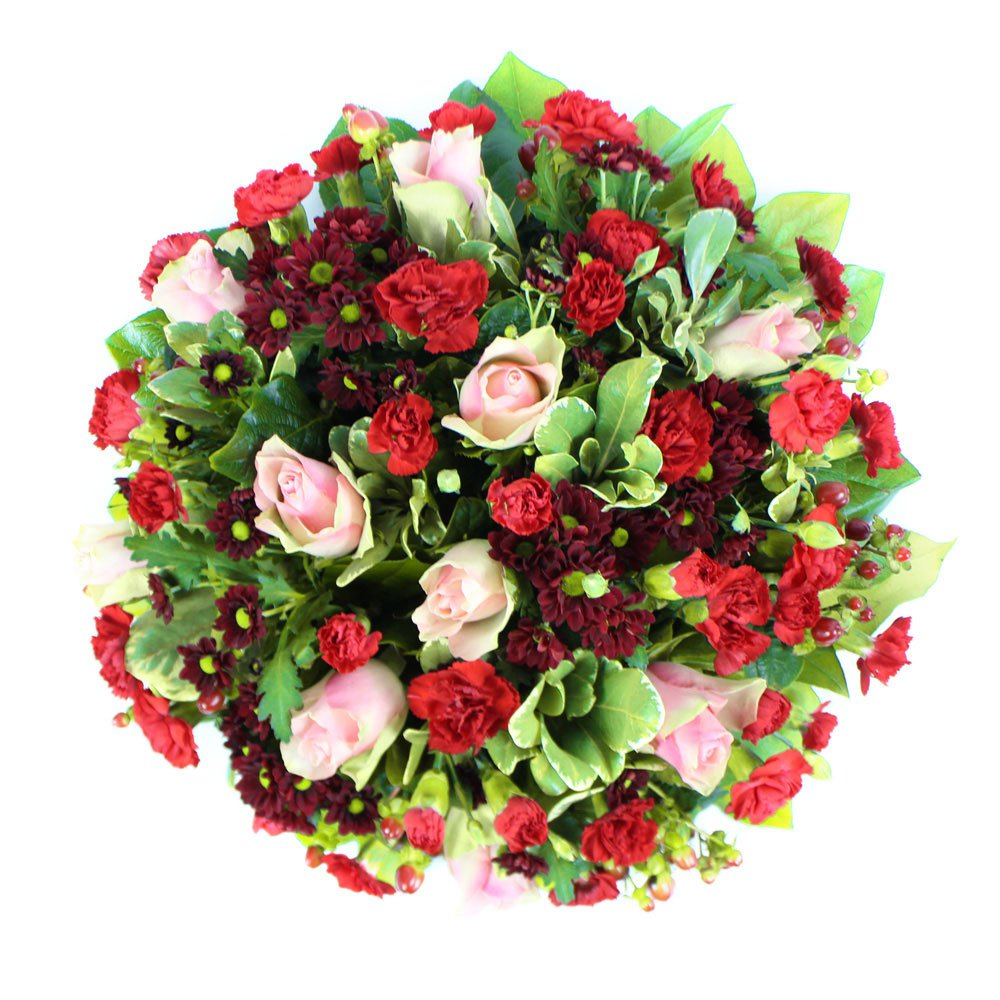 Large Grave Posy in Red, Pink, and Green