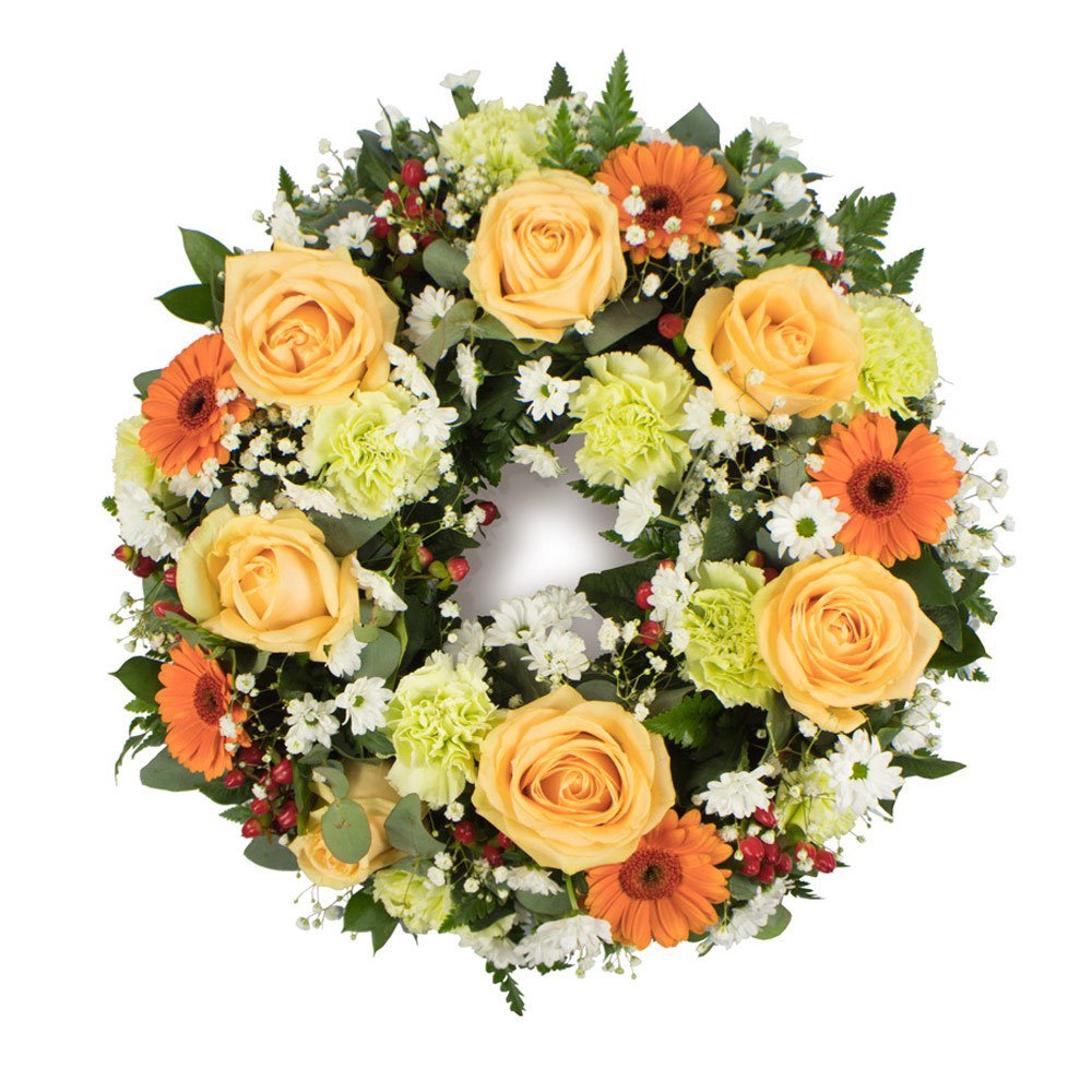 Funeral Wreath in Peach, Ivory, and Green