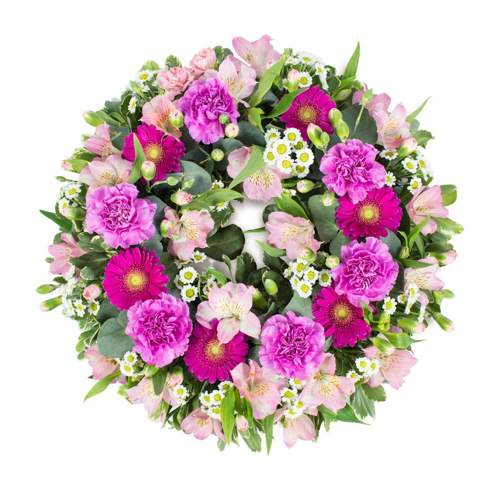 Funeral Wreath in Pink, Ivory, and Green